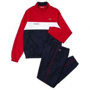 Lacoste Ensemble de survêtement Sport avec veste pliable Taille S Rouge/bleu Marine/blanc