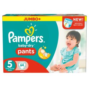 Pampers Baby Dry Pants taille 5 Junior 12-18 kg - Jumbo Plus Pack 64 couches
