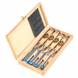 Kirschen Jeu de ciseaux en acier à outils spécial avec manche en bois, Type : N° 1141 HK, Quantité 4 pièces, Contenu 10 16 20 26 mm - KIRSCHE