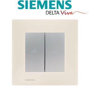 Siemens Interrupteur Volet Roulant Silver Delta Viva + Plaque Beige
