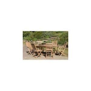 Table de jardin Heaven en teck avec 4 chaises et 2 fauteuils