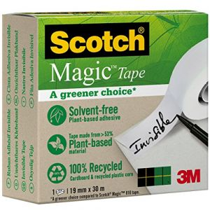 Scotch Ruban adhésif invisible Magic - bague carton recyclé - 19 mm x 33 m - boite individuelle