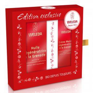 Weleda Coffret soin du corps à la grenade Bio huile régénératrice à la grenade et crème mains