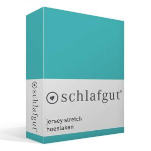 Schlafgut Drap-housse en jersey élasthanne, Coton, turquoise, 220 x 150 x 1 cm