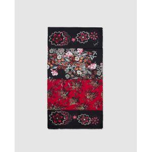 Desigual Foulard Flower Patch à imprimé floral contrastant Noir