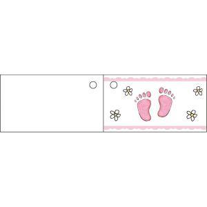 10 étiquettes Pied rose pour Baptême fille