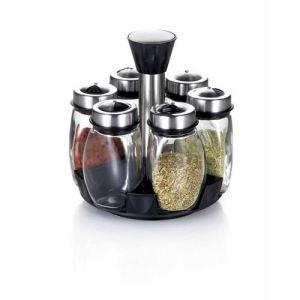 52467 - Porte épices 6 pots avec tourniquet en inox
