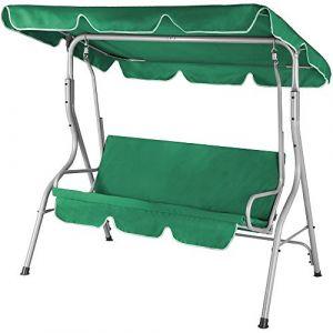 Deuba Balancelle de jardin terrasse - Verte - 3 personnes - Structure en acier solide - Max 250 Kg - Toit réglable avec protection UV