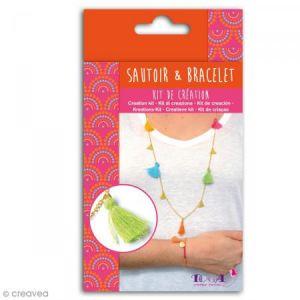 Toga Kit Bijoux Bollywood - 1 chaîne dorée - 6 pompons - 5 breloques dorées - 1 cordon rose fuchsia - 1 chaîne dorée - 1 fermoir