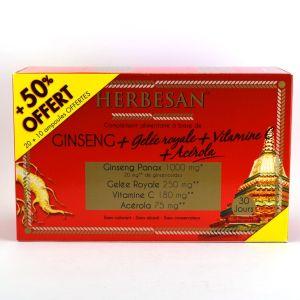 Herbesan Ginseng panax - Gelée royale 30 ampoules