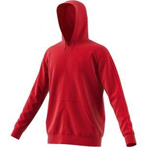 Adidas 3-Stripes sweat zippé à capuche Hommes rouge T. XS