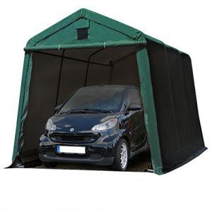 Intent24 TOOLPORT Abri/Tente garage PREMIUM 2,4 x 3,6 m pour voiture et bateau - toile PVC 500 g/m² imperméable vert fonce.FR