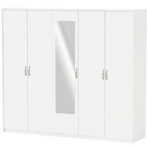 Demeyere Armoire 5 portes et 1 miroir blanc - MARTA
