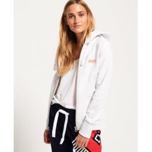 Superdry Orange Label Primary Ziphood Sweat-Shirt À Capuche Sport, Gris (Ice Marl 54g), Large (Taille Fabricant: 14) Femme