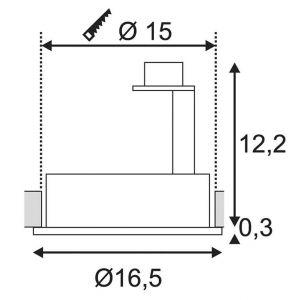 SLV Spot encastrable LED, Ampoule halogène G53 113520 75 W noir (mat)