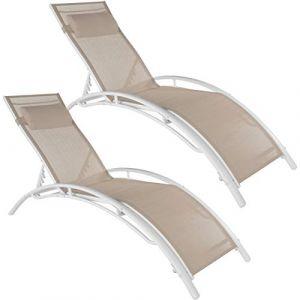 TecTake 2 Bains de soleil confortables jardin et piscine inclinables sur 5 positions en Aluminium Beige