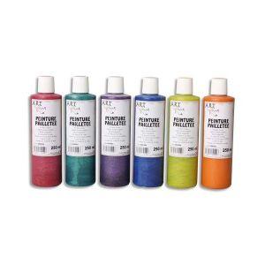Artline Gouache pailletée - Boîte de 6 x 125ml - Artplus - couleurs assorties
