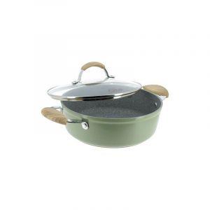 Ogo LIVING 7930188 Faitout 24 cm - Couvercle en Alu forgé - Forme basse - poignée bakelite - Olive