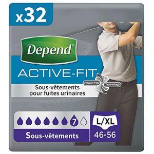 Depend Active Fit Sous-Vêtements Homme - Taille L/XL x32 (4 Paquets de 8)