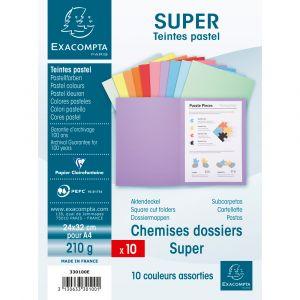 Exacompta 330100E - Paquet de 10 chemises SUPER 250, coloris assortis 10 teintes