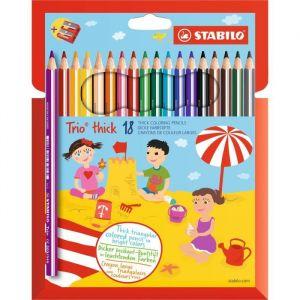 Stabilo Crayons de couleur larges Trio avec taille-crayon, boîte de 18 crayons