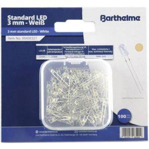Barthelme Assortiment de LEDs 3 mm 00430337 blanc froid rond 8000 mcd 30 ° 20 mA 3 V 100 pc(s)