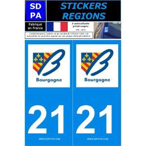 """SDPA SR21 - 2 autocollants pour plaque d'immatriculation """"Département 21 - Région Bourgogne"""""""