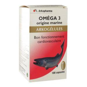 Arkopharma Arkogélules Oméga 3 origine marine - Equilibre du taux de triglycérides et de cholestérol - 180 gélules