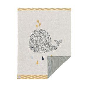 Lässig Couverture coton bio gots little water baleine, 75x100 cm