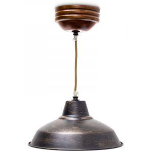Relaxdays Luminaire lampe à Suspension Plafonnier style industriel look retro vintage abat-jour métal effet laiton socle en bois hauteur réglable