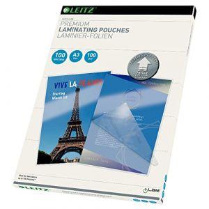 Leitz 100 pochettes plastifiées - brillant, cristal - 100 microns - A3 iLAM