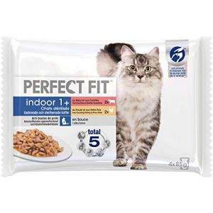 Perfect fit Lot de 13 Sachets fraîcheur en sauce bŒuf poulet Indoor - Pour chat d'intérieur - 4 x 85 g