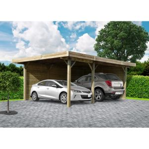 Solid Carport bois Kurow / toit plat / 14.58 m²