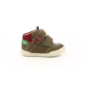 Kickers Jawa, Sneakers Haute Garçon, Kaki, 19