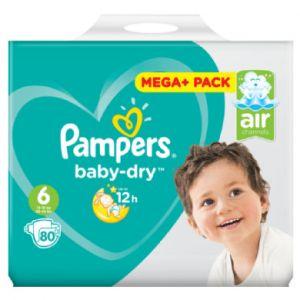 Pampers Baby Dry taille 6 Extra Large, (de 13 à 18 kg) +, Mega Plus Pack, 80 pièces