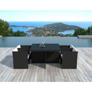 Delorm Design LIMA  - Salon de jardin 4 places résine tressée noire