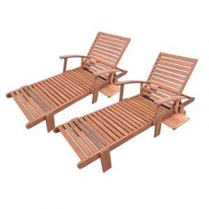Viva Green Bain de soleil pliant en bois exotique Tokyo - Maple - Marron clair - lot de 2
