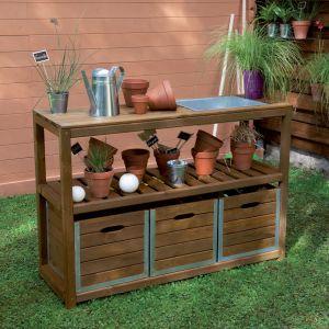 Image de Jardipolys Choko - Table de préparation en bois teintée brun