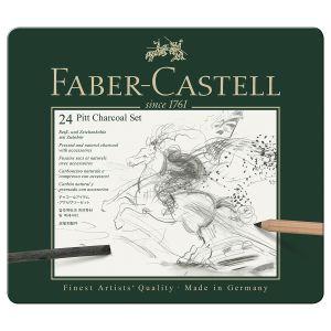 Faber-Castell Set PITT Charcoal 24 pieces Boîte en métal contenant un Set PITT Charcoal de 24 pièces.