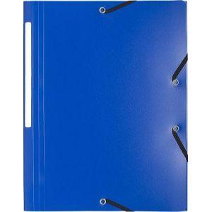 Exacompta 55802E - Chemise à élastique polypro UNI 3 rabats, coloris bleu foncé