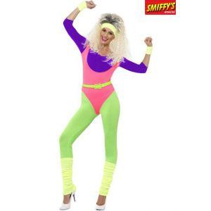 Smiffy's 43196XS Déguisement Femme Sportif des Années 80, Fluo, Taille XS