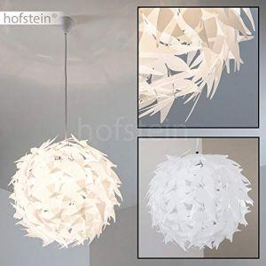 Hofstein Suspension blanche DOKKKAS élégante avec support métal - Lustre de salon - Compatible LED - Lampe pour chambre - Lampe ronde compatible avec les appareils LED