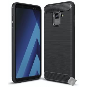 CaseInk Housse Etui Coque Silicone Gel Carbone Pour Samsung Galaxy A8 (2018) + Verre Trempe - Noir