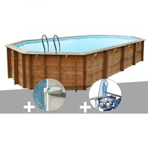 Sunbay Kit piscine bois Sevilla 8,72 x 4,72 x 1,46 m + Alarme + Kit d'entretien