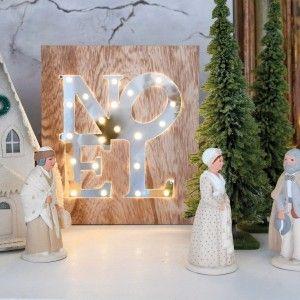Blachère illumination Tableau LED miroir Noël 21 LED Blanc chaud - L 22 x I 3 x H 25 cm