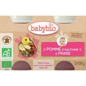 BabyBio Petits Pot Fruit Pomme fraise 2 x 130g - dès 6 mois