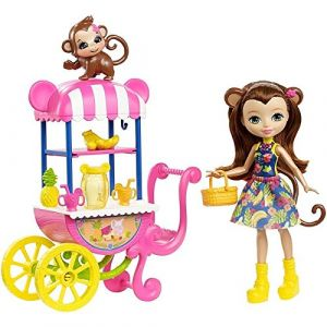 Mattel Enchantimals : Merit Monkey et stand de fruits