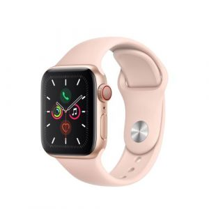 Apple Watch Watch Series 5 GPS + Cellular 40mm, Boitier Aluminium Or avec Bracelet Sport Rose - S/M & M/L