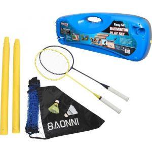Athli-tech Kit badminton - 2 raquettes, 2 volants, 1 filet et 2 poteaux - Livrés dans un sac de transport en plastique