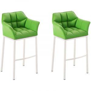 CLP Lot 2 tabourets de bar Damaso 4 pieds similicuir, vert vert, hauteur de l assise
